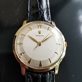 Mens Rolex 33mm 14k Solid Gold Hand-wind Dress Watch, c.1950s Vintage MA182