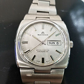 Mens Bucherer 37mm All-Stainless Steel Day Date COSC Automatic, c.1970s MA166