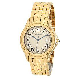 Cartier Cougar 18k Yellow Gold Quartz White Ladies Watch 887904
