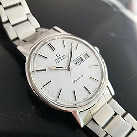 Mens Omega Geneve 35mm Day Date Automatic Dress Watch, c.1970s Vintage NS50