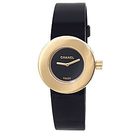 Chanel La Ronde 18k Yellow Gold Leather Quartz Black Ladies Watch 36.19.81