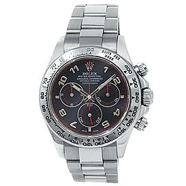Rolex Daytona 18k White Gold Oyster Automatic Black Men's Watch 116509