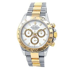 Rolex Daytona 18k Yellow Gold Stainless Steel Oyster White Men's Watch 116523