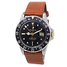 Rolex GMT-Master 18k Yellow Gold Steel Leather Automatic Black Men's Watch 16753