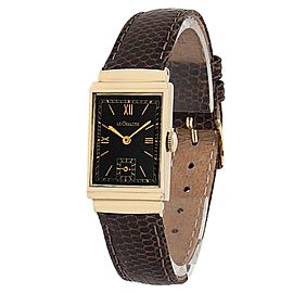 Jaeger-LeCoultre Vintage 14k Yellow Gold Leather Manual Black Ladies Watch