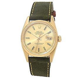 Rolex Datejust 18k Yellow Gold Green Suede Automatic Champagne Men's Watch 16000
