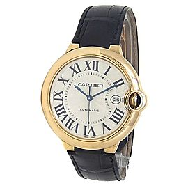Cartier Ballon Bleu 18k Yellow Gold Leather Automatic Silver Mens Watch W6900551
