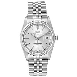 Rolex Datejust Steel White Gold Silver Dial Fluted Bezel Mens Watch 16234