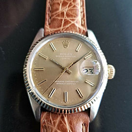 Mens Rolex Oyster Perpetual Date 1505 35mm Automatic, c.1970s Vintage RA146TAN