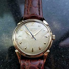 Mens Vintage Longines Cal.23 34mm 14k Gold Manual 1960s Dress Watch Swiss LV818