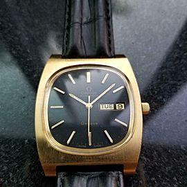 Mens Omega Geneve 36mm 1970s Gold-Plated Day Date Automatic Swiss Vintage J728