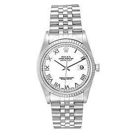 Rolex Datejust 36 Steel White Gold Fluted Bezel Mens Watch 16234