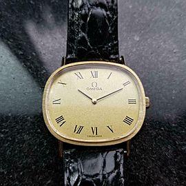 Unisex Omega 33mm 14k Solid Gold 1970s Manual Dress Watch Vintage Swiss LV75