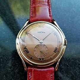 Mens Vulcain 36mm 18k Solid Rose Gold 1960s Manual Wind Vintage Watch