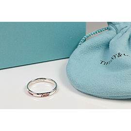 Tiffany & Co. Picasso Graffiti Love Band Ring Silver & Red Enamel Size 5.5 w Bag