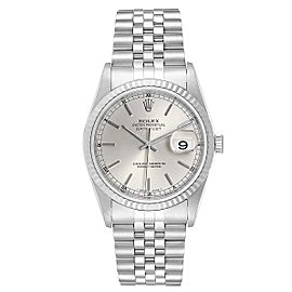Rolex Datejust Steel White Gold Silver Baton Dial Mens Watch 16234