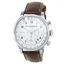 Baume & Mercier Capeland Stainless Steel Leather Auto White Men's Watch