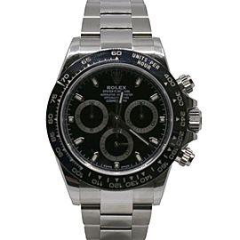 "Men""s Rolex Cosmograph Daytona 40, 904L Stainless Steel, Black dial, 116500LN"