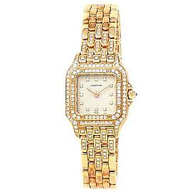 Cartier Panthere 18k Yellow Gold Quartz Diamonds Silver Ladies Watch 1280