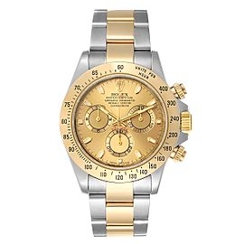 Rolex Daytona Steel 18K Yellow Gold Mens Watch 116523 Box Papers