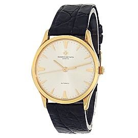 Vacheron Constantin Patrimony 18k White Gold Leather Auto Silver Watch