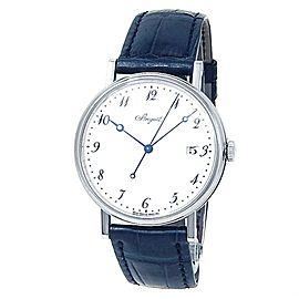 Breguet Classique 18k White Gold Leather Auto White Men's Watch 5177BB/29/9V6