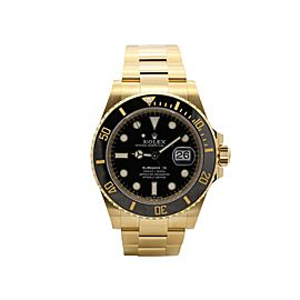 Men's Rolex Submariner, 41mm, 18k Yellow Gold, Black Dial, 126618LN