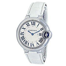 Cartier Ballon Bleu Stainless Steel Leather Quartz Silver Ladies Watch WSBB0034