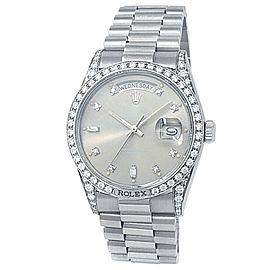 Rolex Day-Date 18k White Gold President Auto Diamonds Silver Men's Watch 18139