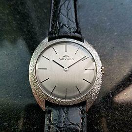 Mens Movado 35mm 18k White Gold Manual Wind 1960s Dress Watch Vintage MA144