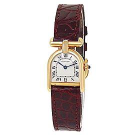 Cartier Vintage 18k Yellow Gold Red Leather Quartz White Ladies Watch