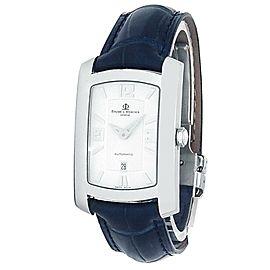 Baume & Mercier Hampton 18k White Gold Leather Auto Silver Men's Watch MV045227