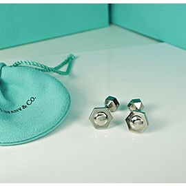 Tiffany & Co. RARE Picasso Hexagon Stainless Steel Cufflinks Cuff Links- RETIRED