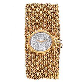 Baume & Mercier Vintage 18k Yellow Gold Manual Diamonds Pave Ladies Watch 484828