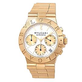 Bvlgari Diagono 18k Yellow Gold Automatic Chronograph White Men's Watch CH 35 G