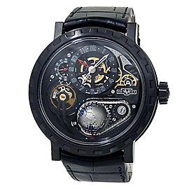 DeWitt Academia Hour Planet Titanium Leather Manual Black Men's Watch AC.GMT.002