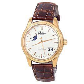 Glashutte Original Senator PanoRama 18k Rose Gold Silver Watch 39-41-03-11-04