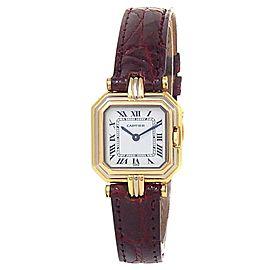Cartier Ceinture 18k Tridor Gold Red Leather Quartz White Ladies Watch