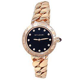 Bvlgari Bvlgari 18k Rose Gold Catene Quartz Diamonds Black Ladies Watch 102036