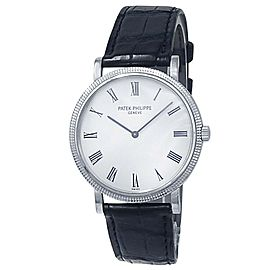 Patek Philippe Calatrava 18k White Gold Leather Auto White Men's Watch 5120G-001