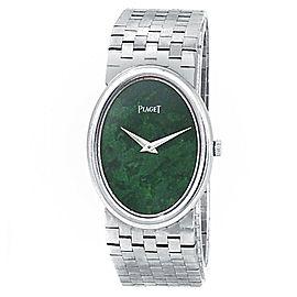 Piaget Vintage Oval 18k White Gold Manual Green Ladies Watch 9862