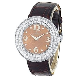 Corum Full Moon 18k White Gold Brown Leather Quartz Diamond Salmon Ladies Watch