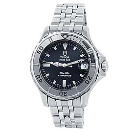 Tudor Prince Date Hydronaut Stainless Steel Automatic Black Men's Watch 85190