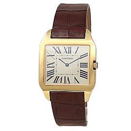 Cartier Santos Dumont 18k Yellow Gold Leather Manual Silver Men's Watch