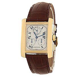 Cartier Tank Francaise 18k Yellow Gold Leather Quartz Silver Mens Watch
