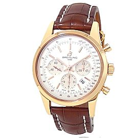 Breitling Transocean Chronograph 18k Rose Gold Leather Silver Men's Watch