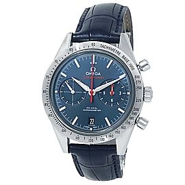 Omega Speedmaster Stainless Steel Leather Blue Men's Watch