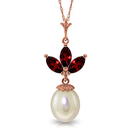 14K Solid Rose Gold Necklace with Cultured Pearl & Garnets