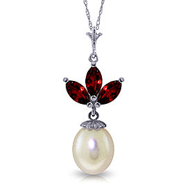 4.75 CTW 14K Solid White Gold Necklace Cultured Pearl Garnet