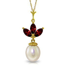 4.75 CTW 14K Solid Gold Necklace Cultured Pearl Garnet
